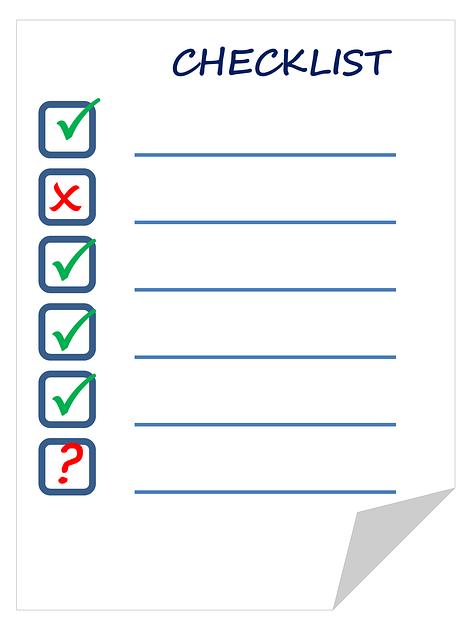 checklist o lista de chequeo