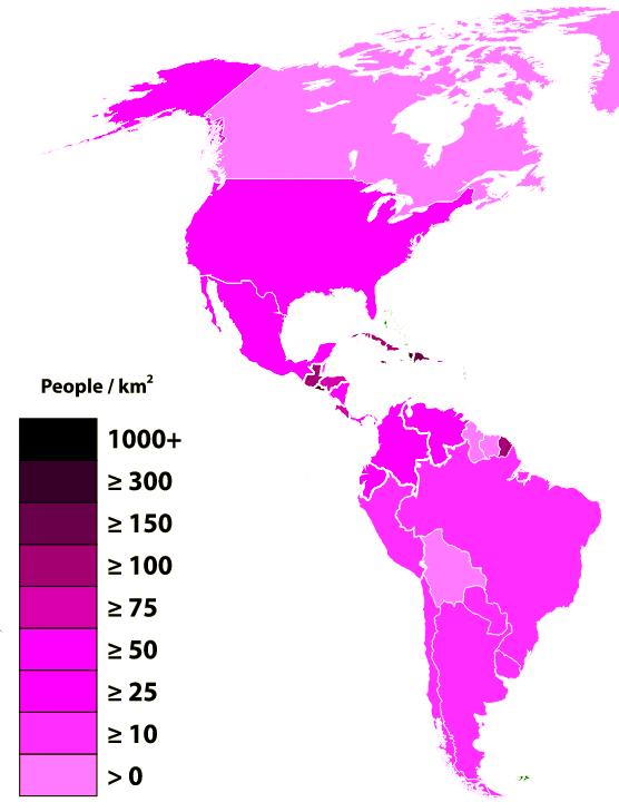 Densidad Población América 2015
